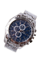 Men Waterproof Stainless Steel Strap Business Wrist Watch - Blue