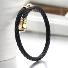 Men Women Stainless Steel Twisted Cable Wire Bangle Open End Charm Bracelet - intl