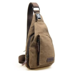 Men s Canvas Unbalance Backpack Shoulder Sling Chest Hiking Bicycle Bag  (Coffee) - Intl e1f40009357f9