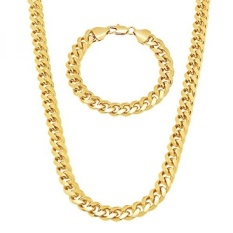 Mens 9mm Gold Plated Miami Cuban Link Curb 24