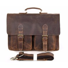 Mens Cowhide Genuine Leather Business Briefcases for 15