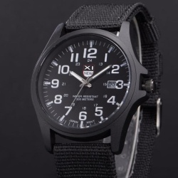 Mens Date Stainless Steel Military Sports Analog Quartz Army Wrist Watch Black - intl