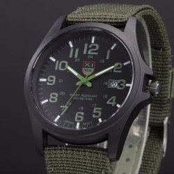Mens Date Stainless Steel Military Sports Analog Quartz Army Wrist Watch Green - intl