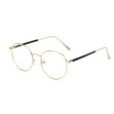 Men's Eyewear Fashion Vintage Retro Round Glasses Gold Frame Glasses Plain for Myopia Men Eyeglasses Optical