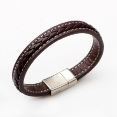 Mens Fashion Genuine Leather Braided Alloy Wristband Bracelet - intl