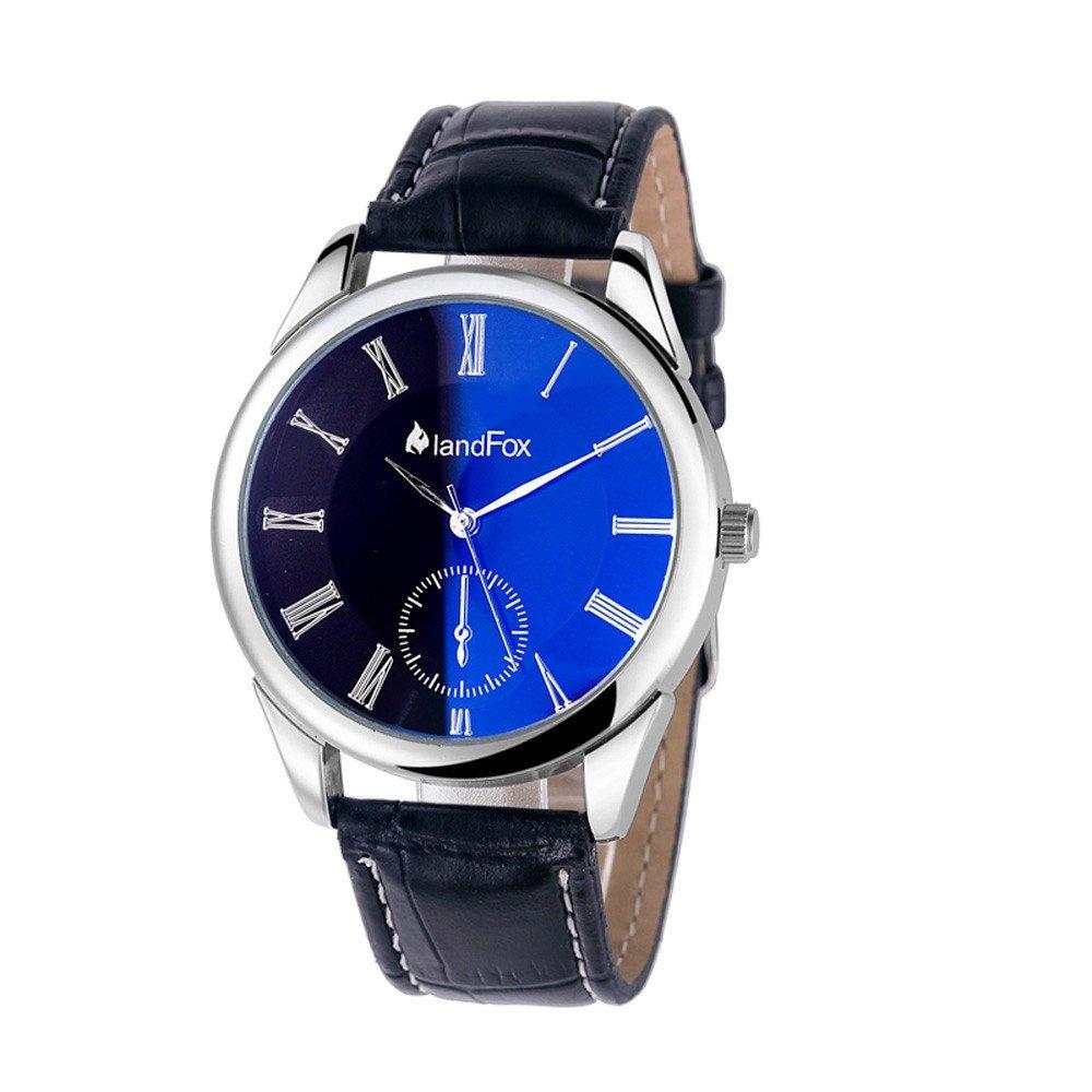 Mens Faux Leather Band Quartz Analog Bracelet Wrist Watch (Black)