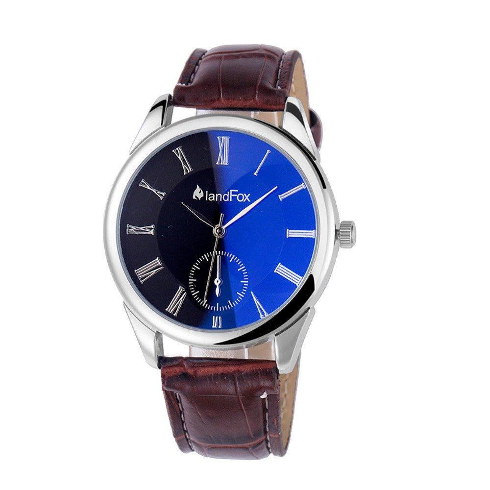 Mens Faux Leather Band Quartz Analog Bracelet Wrist Watch Brown