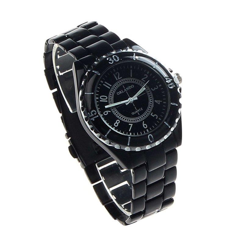 Men's Imitation Ceramic Quartz Analog Sports Wrist Watch  (Black)