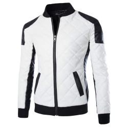 Men's motorcycle leather jacket coat