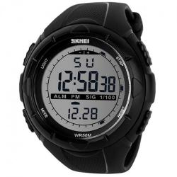 Mens Multifunction Digital Backlight Waterproof Sports Watch Black