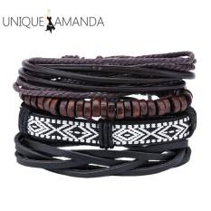 Mens Vintage Handmade Braid Pu Bracelet Multilayer Wrap Bracelets Intl