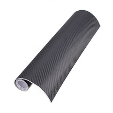 MHS 152X30cm Black 3D Carbon Fiber Chrome Car Auto Wrap Sticker Vinylsheet Film Gloss - intl