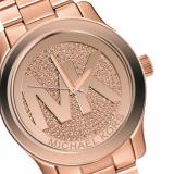 3a0a397af010f Michael Kors Rose Gold-Tone Glitz Dial Runway Oversized Watch MK5661 ...