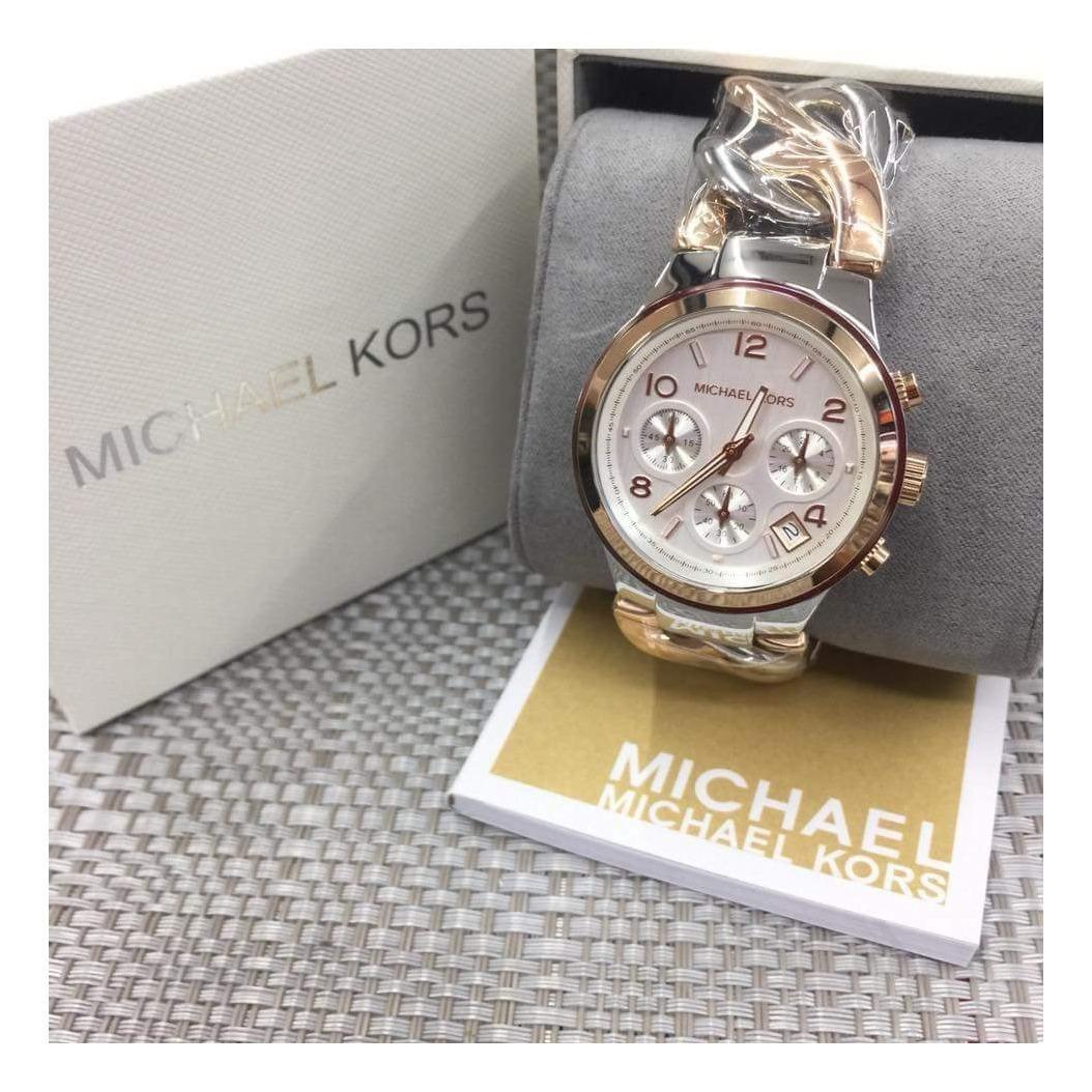Michael Kors Runway Chronograph Midsize/Two Tone Rose Gold Twist Chain Link Womens Watch MK3149
