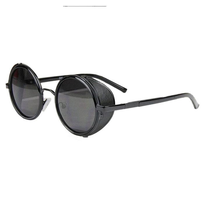 Mirror Lens Round Glasses Cyber Goggles Steampunk Sunglasses Black - thumbnail