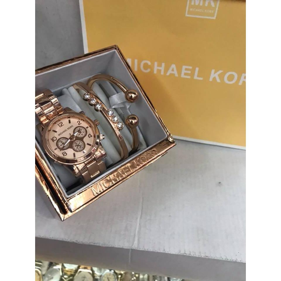 MK Stainless Steel Rose Gold Toned Set Strap Watch