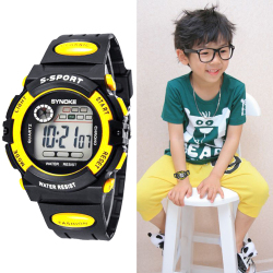 Multifunction Waterproof Child Boy Girl Sport Electronic Wrist Watch Yellow