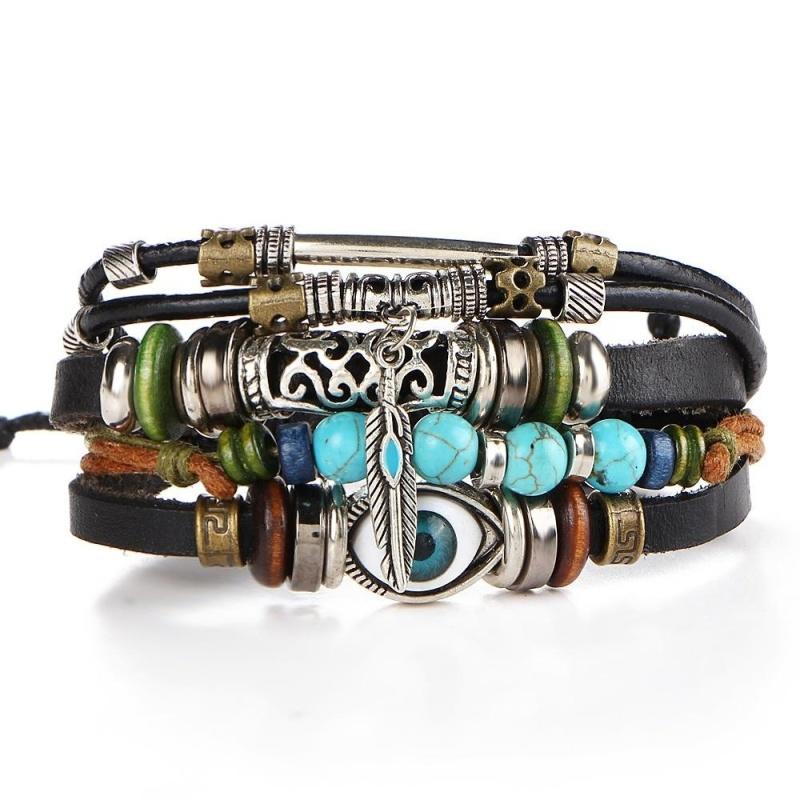 O-New Multilayer Leather Braccelet Beads Feather Eye Charm Bracelet Adjustable For Men
