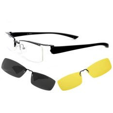 Myopia Optical Eyeglasses Frame Polarized Sunglasses Shade Clip Night Vision Clip 6052 Half-frame Black
