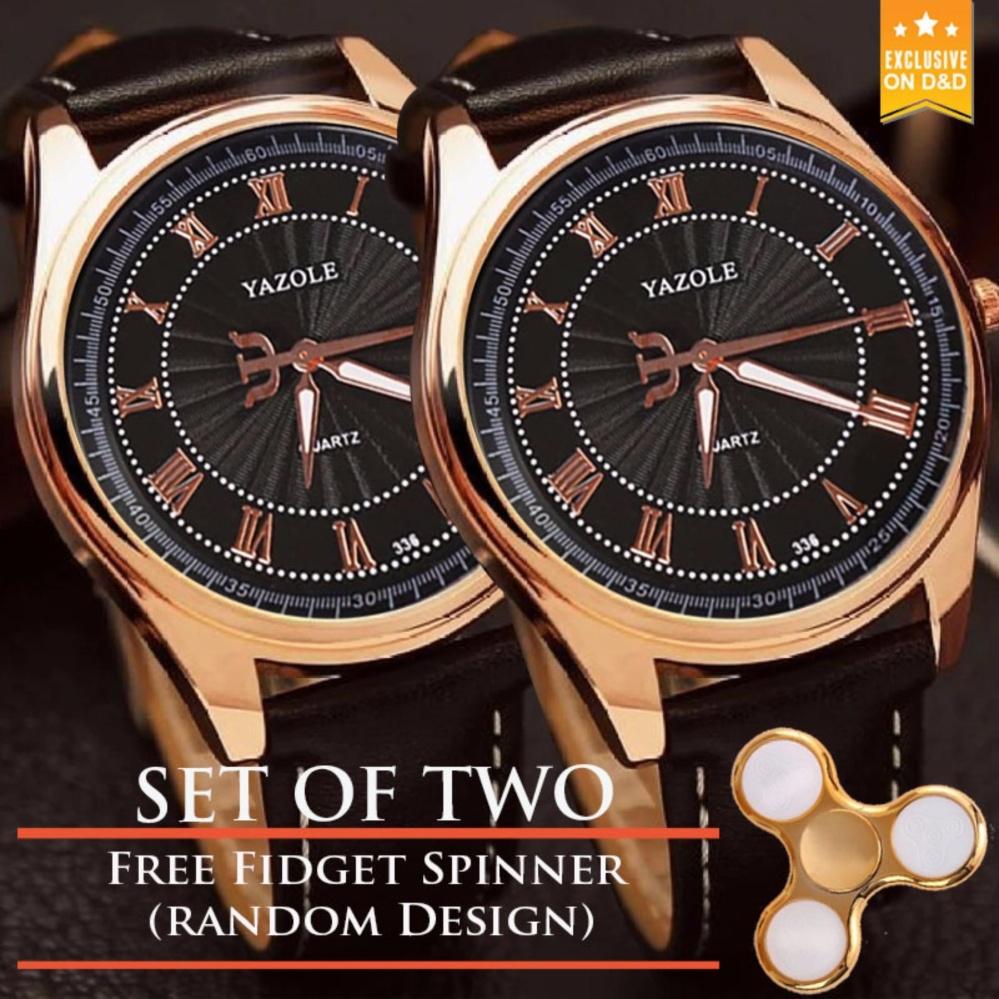 NARY 336  Business Men Leather Strap Quartz WristwatchBlack+Black ) SET OF TWO with Free Fidget Spinner Random DESIGN