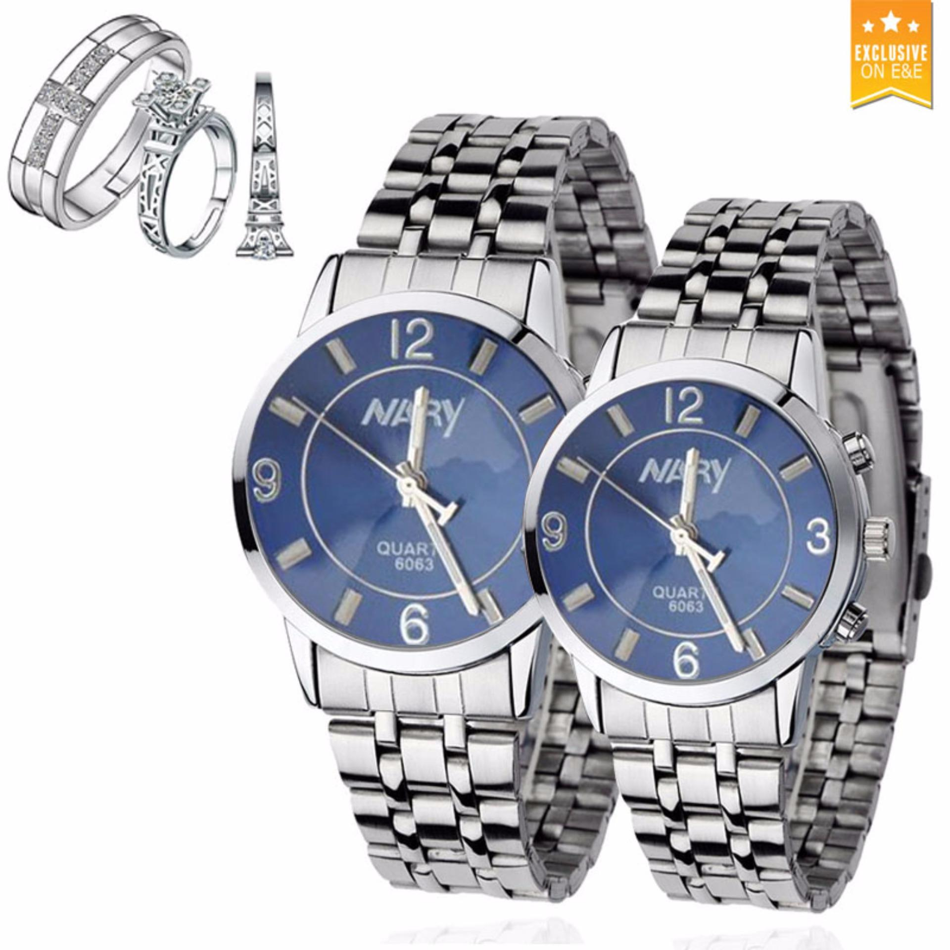 NARY Couple  Stainless Steel Strap Watch 6063 with PY-1 Opened Couple Rings