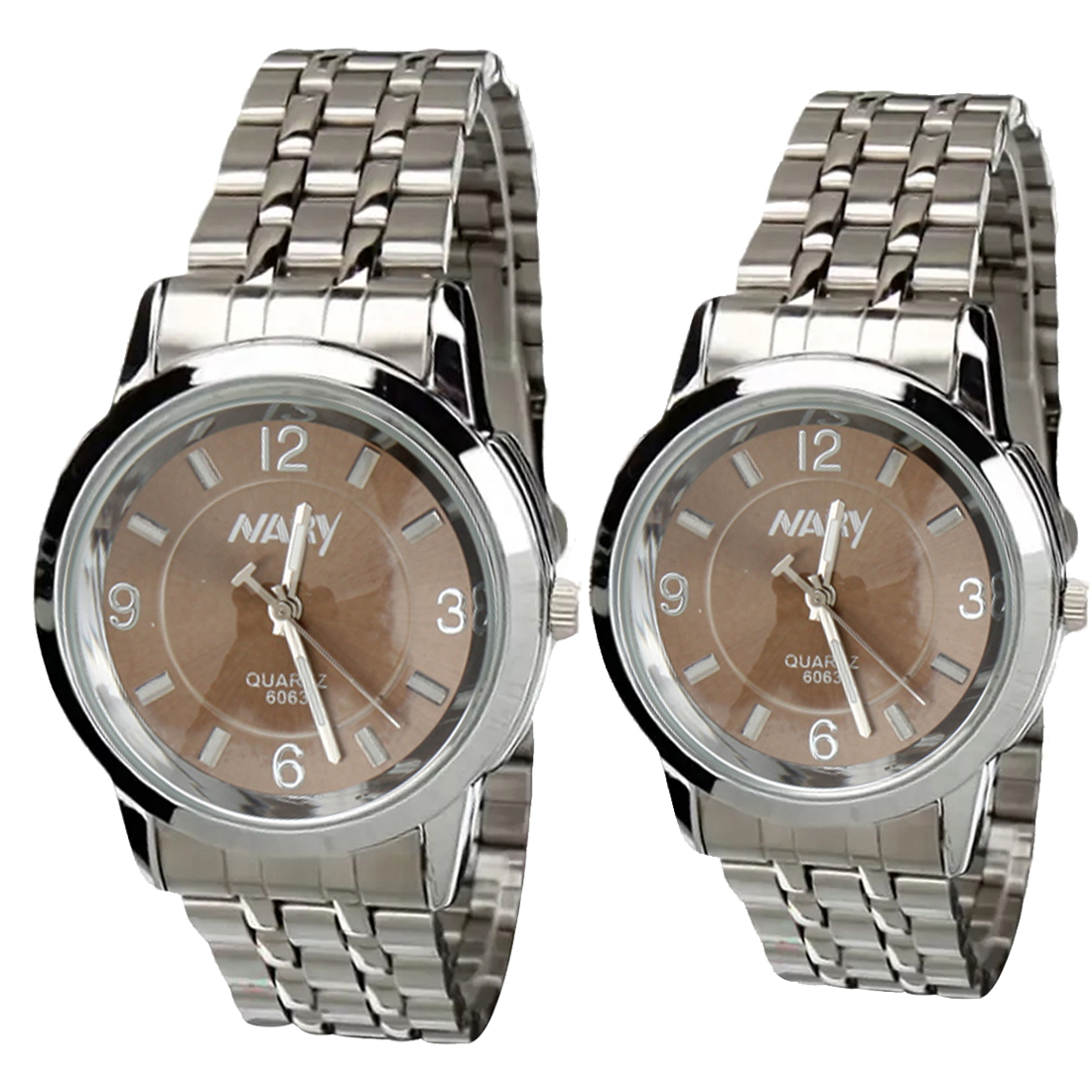 NARY Lovers Silver/Brown Stainless Steel Strap Watch 6063 product preview, discount at cheapest price