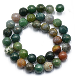 Natural Fancy Blood Indian Agate Round Gemstone Loose Beads 15 inch/10mm