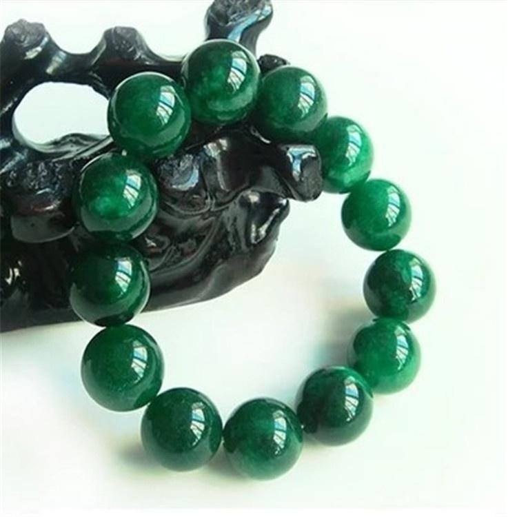 Men And Women Green Emerald Bracelets Real Natural 8 16mm Bead Jade Jewelry Elastic