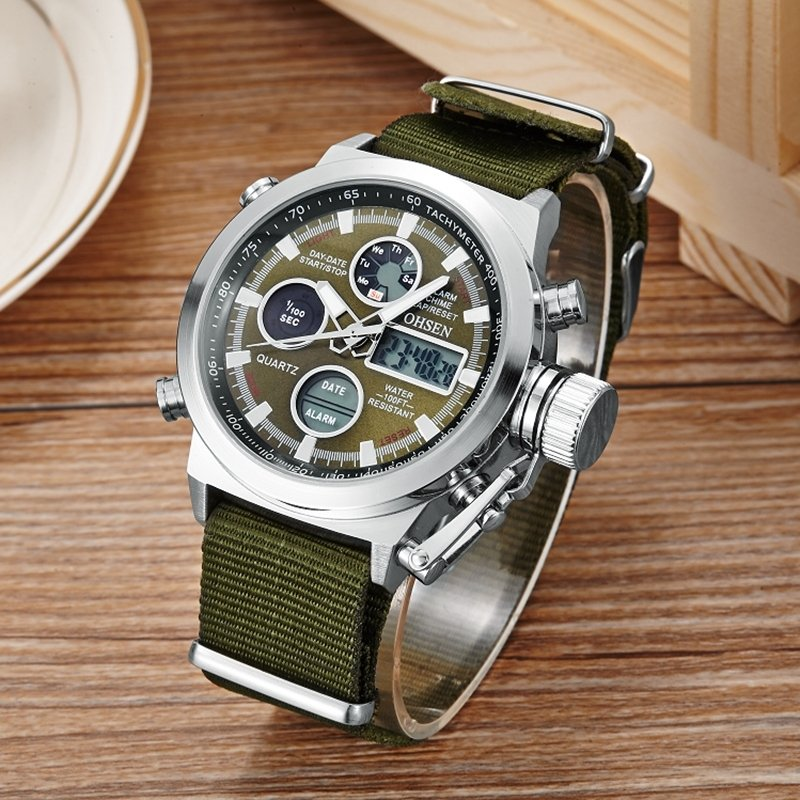 New Arrival Ohsen Brand Fashion LCD Digital Quartz Mens Watch Rubber Band 30M Diver Big Dial Green Military Sport Wristwatches - intl