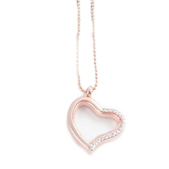 New Chic Popular Fashion Living Memory Floating Locket Love Heart Half Rhinestone Charm Pendant Necklace Christmas Gift - intl