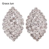 Grace Jun Bridal Rhinestone Crystal Big 3 Layer Geometric Style Clip Earrings Non Piercing For Women No Hole Ear Clip Hot Sale Choice Materials Jewelry & Accessories