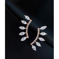 New Fashion Ear Stud Earrings Gold Silver Plated Crystal RhinestoneJewelry Golden - intl