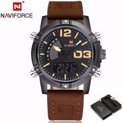 New high quality NAVIFORCE Mens Watch Top Brand Luxury Quartz Watches Casual Sport LED Digital Men Wristwatch Military Clock Relogio - intl