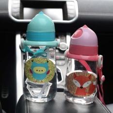 New Kids Drinking Bottles Bpa Free Water Cartoon Plastic Straw Cup Fox Owl Cartoon Bottle 450ml L - Intl By Magic Life Mall.