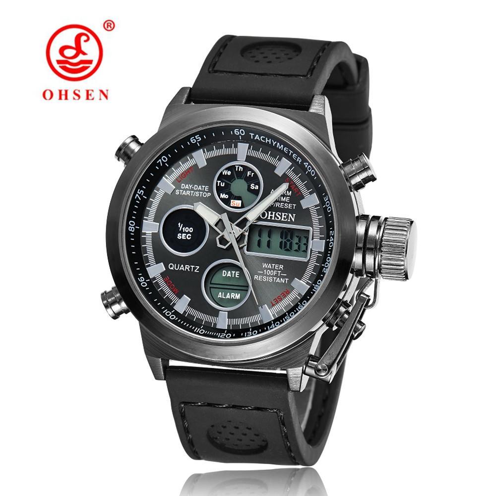 New OHSEN Men Watch Dual Time Zone Alarm LCD Sport Watch Mens Quartz Wristwatch Leather Waterproof Dive Sports Digital Watches