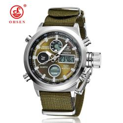 New OHSEN Men Watch Dual Time Zone Alarm LCD Sport Watch Mens Quartz Wristwatch Leather Waterproof Dive Sports Digital Watches