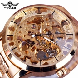 New Winner Gold Watch Mens Watches Top Brand Luxury Full Steel Man Clock Skeleton Automatic Mechanical Watch - intl