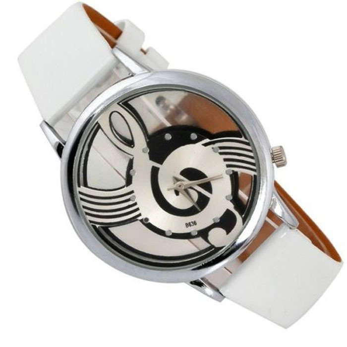 Note Music Notation Leather Quartz Wristwatch White