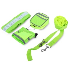 Nylon Four-Piece Hands Free Pets Dog Elastic Leash With Reflective Belt - Intl By Islandmall.