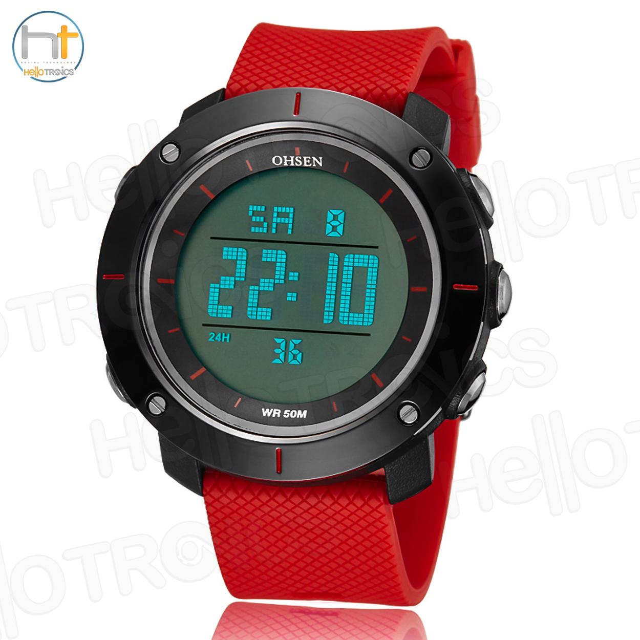 Ohsen 1611 Mens Digital Time Sport Day Date Quartz Silicone Wrist Watch (Red) product preview, discount at cheapest price