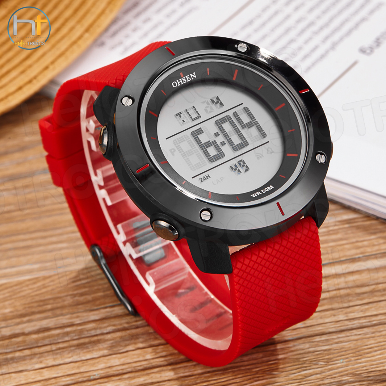 Ohsen 1611 Mens Digital Time Sport Day Date Quartz Silicone Wrist Watch (Red) - thumbnail