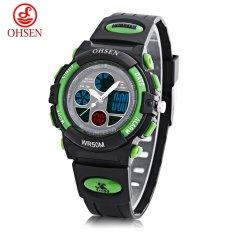 OHSEN AD1502 Dual Movt Quartz Digital Watch Chronograph Calendar Alarm Luminous 5ATM Wristwatch (Green)