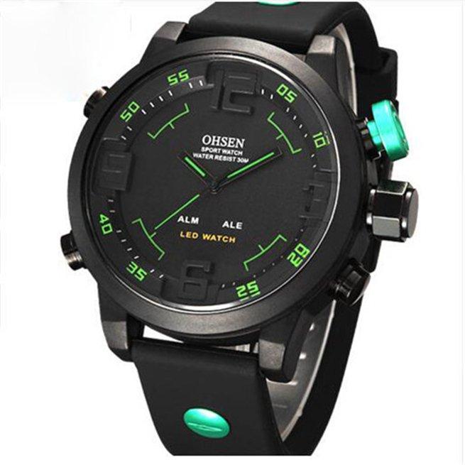 OHSEN Analog Digital LED Date Day Alarm Men's Sports Diver Outdoor Quartz Silicone Strap Wrist Military Watch Relogio Masculino(Green)