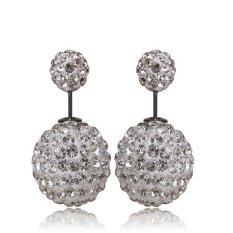 Okdeals 925 Silver Plated Double Beads Crystal Stud Earrings N - intl