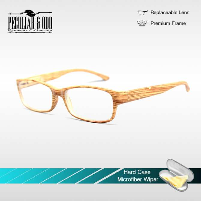 Optical Rectangular Lightweigth Eyeglass 2087_LIghtBrownWood Replaceable Lenses with Spring Hinges_Unisex