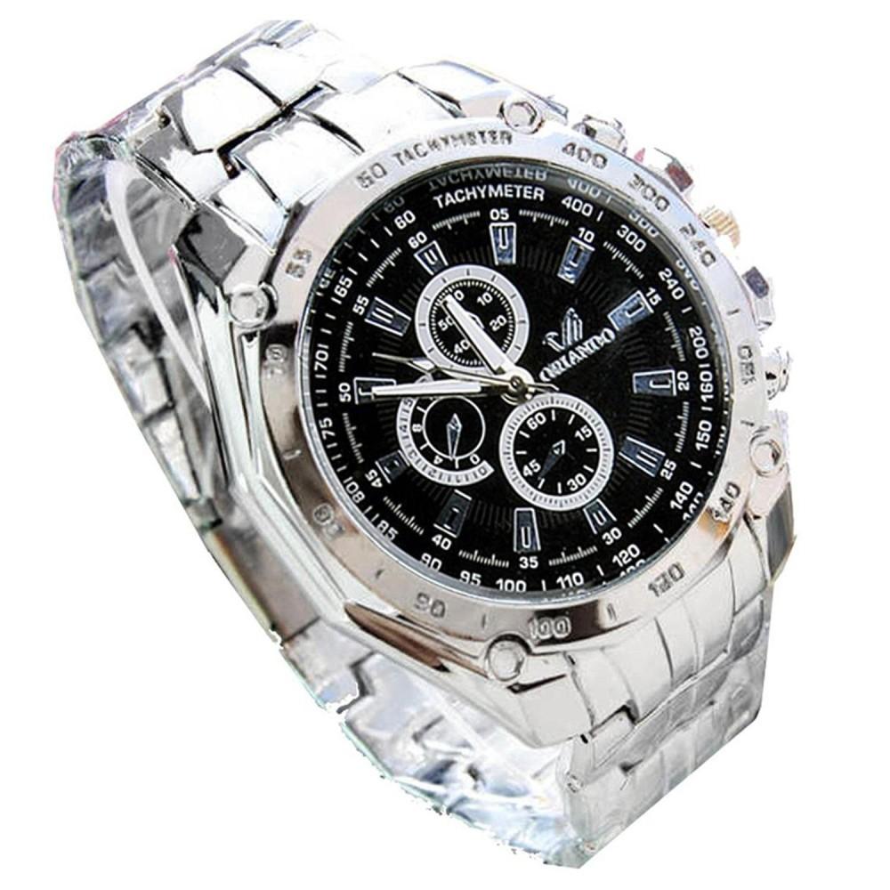 ORLANDO Men's Fashionable Stainless Steel Sports Analog Wrist Watch Silver/Black