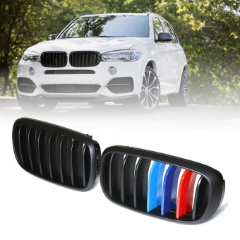 Pair Matte Black M-Color Front Kidney Grille For BMW F86 F15 F16 X5 X6 - intl