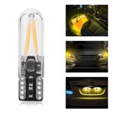Pair Of 8-28v W5w T10 Glass Cob Filament Car Reading Drl Turn Signal Bulb (yellow Light) - Intl By 1buycart.
