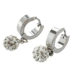Pair Rhinestone Ball Pendant Stainless Steel Hoop Huggie Stud Earrings Chic Intl