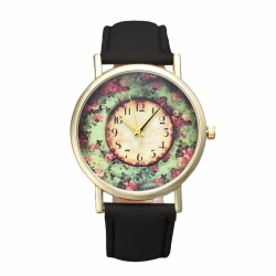 Pastorale Floral Women Leather Band Analog Quartz Dial Wrist Watch BK - intl